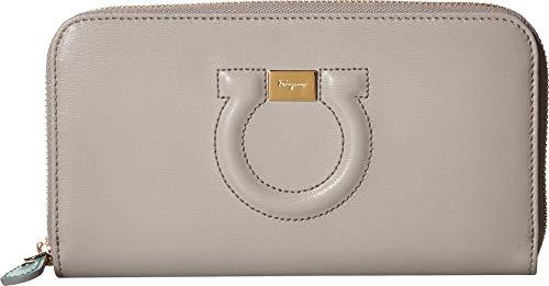 (Salvatore Ferragamo Women's Leather Zip Around Wallet Pale Grey Aquarelle One Size)
