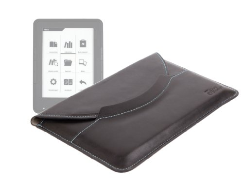 DURAGADGET Faux Leather ''Travel'' Black Executive Slip Pouch With Pull Tab Release System For Thalia Tolino Shine, Thalia Bookeen Cybook Odyssey & Thalia eBook Reader 4Ink by DURAGADGET