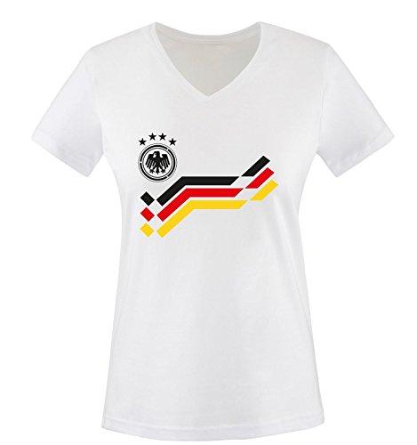 EM 2016 - DEUTSCHLAND - Retro - TRIKOT - Damen V-Neck T-Shirt - Weiss / Schwarz Gr. L