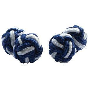 Navy & White Silk Knot Cufflinks | Cuffs & Co