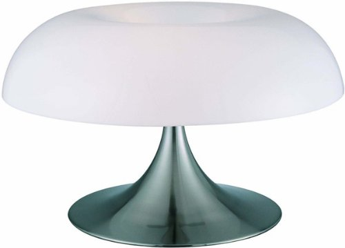 Lite Source LS-2901PS/WHT Pliant Table Lamp, Polished Steel with White Acrylic Spiral Shade, Metallic