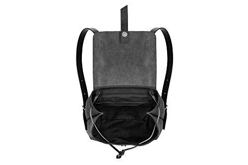 Sandori Damen Rucksack, Ledertasche aus echtem und weichem Rindsleder Farbe Schwarz