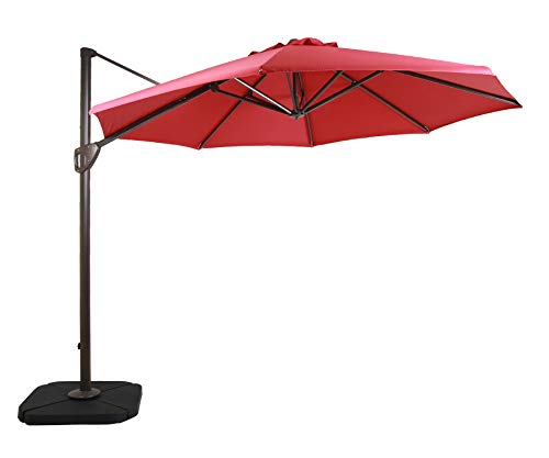 DOMI OUTDOOR LIVING 11-Feet Aluminum Cantilever Umbrella Outdooor Patio Tilt Crank Round Umbrella with Cross Base,Red