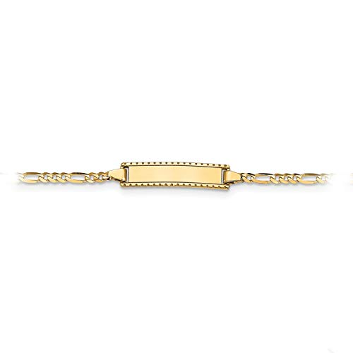 (Brilliant Bijou Children's Solid 14k Yellow Gold Personalized 6 inches ID Figaro Bracelet - For Babies, Toddlers &)