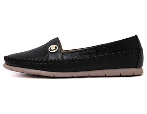 Jds Casual Noir Fortuning's Chaussures Simple Cordes Plates Style Metallic Souple Semelle Avec qfxRxdB