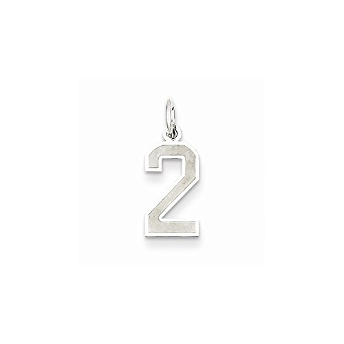 Sterling Silver Small Satin Number 2 (0.75 in x 0.28 in) from PriceRock