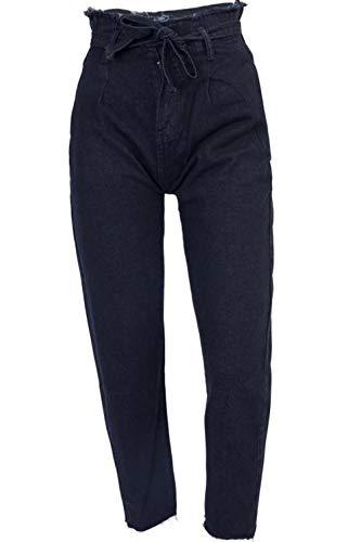 Pleine Haute des Les Taille Jean Ceinture Zamtapary Jeans Femmes Longueur Black avec wpSBfnxOqz