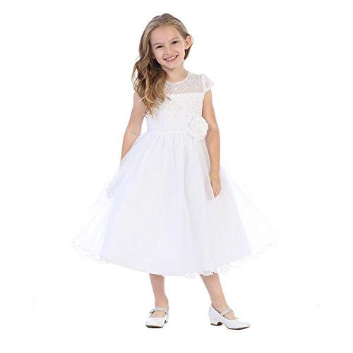 Blossom Little Girls White Corded Lace Pearl Bead Sequin Flower Girl Dress 6