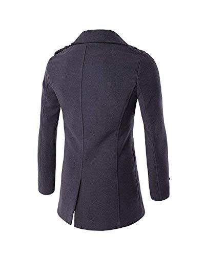 Fit Uomini Bavero Slim Abbigliamento Caldo Manica Dunkelgrau Huixin Invernale Outwear Petto Lunga Doppio Giacca Trincea Cappotto wanR6qPpw