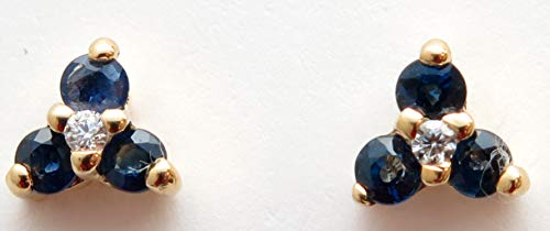 14k Yellow Gold Genuine Sapphire=0.24ct and Diamond=.02 Stud Earrings
