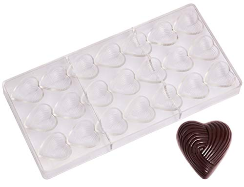 (Polycarbonate Chocolate Mold by NuEmporia for Pralines, Truffles, Sweets, Candies, Bonbons: Grooved Heart Shape. Food Safe, BPA-Free Polycarbonate Plastic)