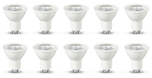 AmazonBasics LED GU10, 5,5 W zu 50 W, 345 Lumen, 10er-Pack