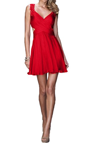 Red Dress Length V Straps Allure Neck Avril Cocktail Back Gown Beautiful Mini Chiffon AwdqqC6
