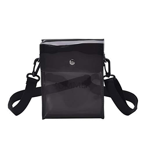 (♔IAMUP Transparent Messenger Bag Joker Shoulder Bag Fashion Bag Solid Color Backpack)