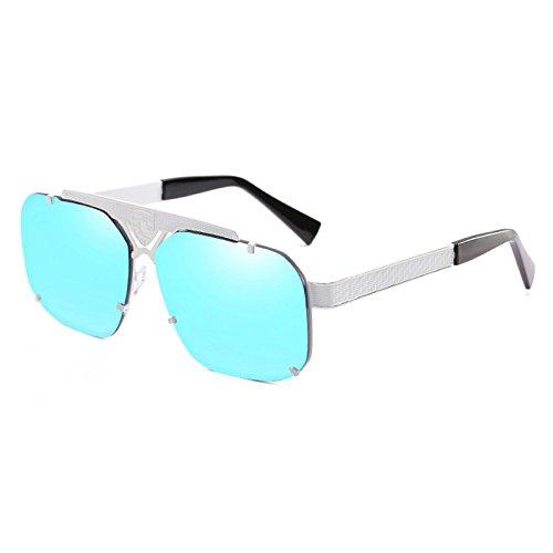 Sol C1 de Cool para Negro de Gafas Espejo rect¨¢ngulo Remaches Zygeo del Oculos Sol Hombres Personal del Gafas Gafas C5 Azul Unisex Metal Mujeres Pesados 9225 Gris xBPOwId