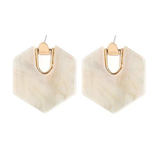 Acrylic Resin Hoop Earrings - Tortoise Shell Earrings for Women Boho Jewelry, Great for Sister, Friends, Mom (Mottled White) ()