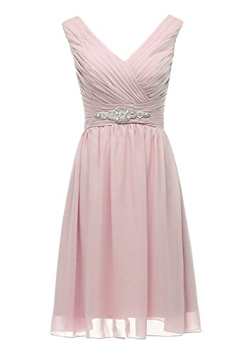 ASBridal Beading Chiffon Peach Bridesmaid Neck Line A Cocktail Dress V Womens Short fqU1zfr