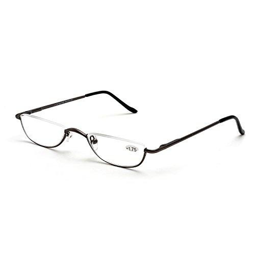 d9c830878dab ZUVGEES Vintage Alloy Semi Rimless Reading Glasses Men Women Half Frame  Slim Glasses with Stylish Case (Gun Grey