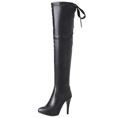 AIYOUMEI Damen Stiletto Overknee Stiefel mit 10cm Absatz High Heels Langschaft Stiefel R69MgF