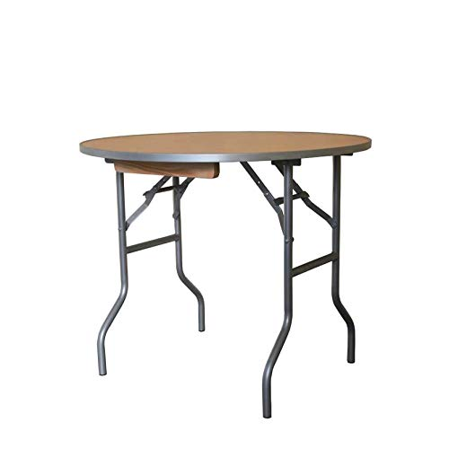 3 Foot Diameter Round Solid Birch Wood Folding Table – Heavy Duty 36 Top x 30 Height with Aluminum Edges 5-Pack