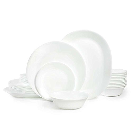 Corelle Livingware 38-Piece Dinnerware Set, Winter Frost White, Service for 12