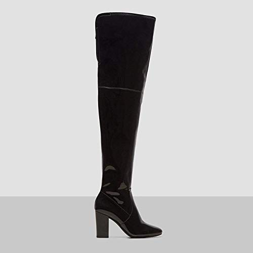 Kenneth Cole New York Women's Angelica Thigh-High Heeled Boot Over The Knee, Black Patent, 8.5 M US