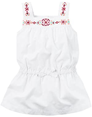 Girl Embroidered Poplin Tunic; White