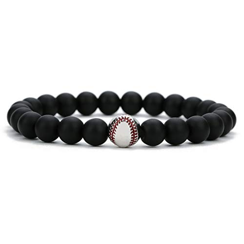 (Linsoir beads Trendy Baseball Bracelet Lava Stone/White Howlite/Matte Black Stone Beaded Bracelet Sports Jewelry for Boy Gift Jewelry 1 pc)