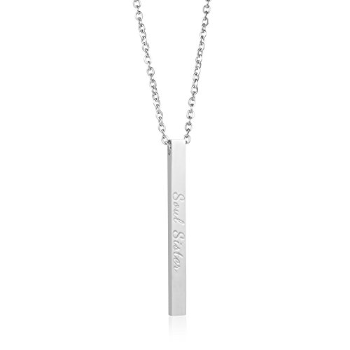 Joycuff Friendship Bar Necklace Gifts for Her Vertical Bar Layered Necklace Bridesmaids Gifts Wedding Jewelry Saying Soul Sister by Joycuff