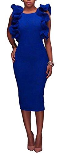 Grand Tang Crayon Dos Nu Cou Falbala Rond Féminin Club Robe Moulante Midi Saphir Bleu