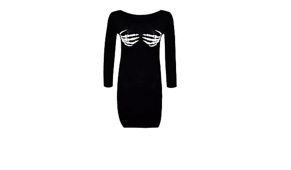 Mallas para mujer con diseño de esqueleto (disfraz para Halloween) Negro HAND PRINT DRESS 50: Amazon.es: Ropa y accesorios