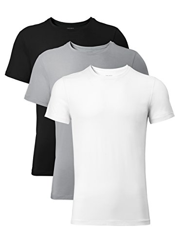 David Archy Men's 3 Pack Soft Comfy Bamboo Rayon Undershirts Breathable Crew Neck Slim Fit Tees Short Sleeve T-Shirts (M, Black/White/Light Gray)
