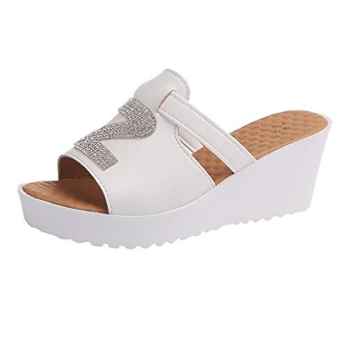 (High Heel Shoes Women Strap Chunky Heel Wedges Sandal Thick High-Heeled Flip Flop Open Toe Slipper White)