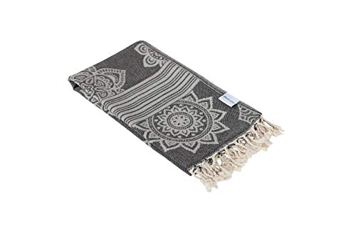 - InfuseZen 100% Cotton Peshtemal, Reversible Turkish Towel for The Bath, Beach or Pool, Thin Fouta Towel for Travel, Gym, Yoga, Spa, 68 inches x 37 inches (Black)