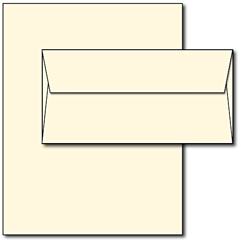 Blank Letterhead Paper & Envelopes - Off-White Natural Cream Color - 40 Sets - Unique Executive Size (7