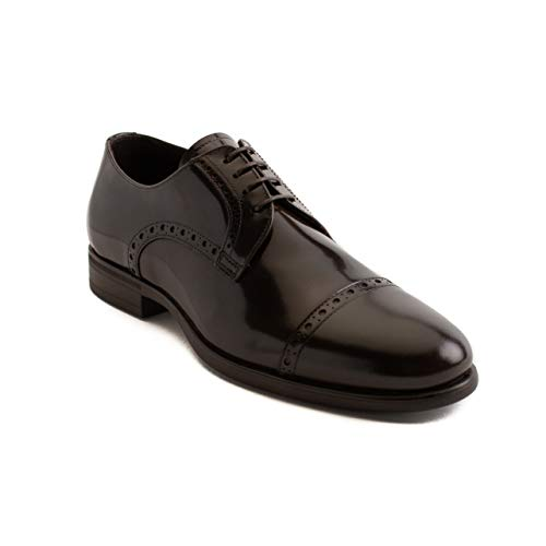 GIORGIO ARMANI Collezioni Men's Leather Derby Brogue Oxford Dress Shoes Brown