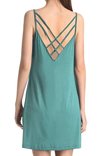 Cherislpy Womens Cute Lingerie Criss Cross Back Sleepwear Chemises Full Slip Babydoll Nightgown Dress (X-Large, Blue Green)