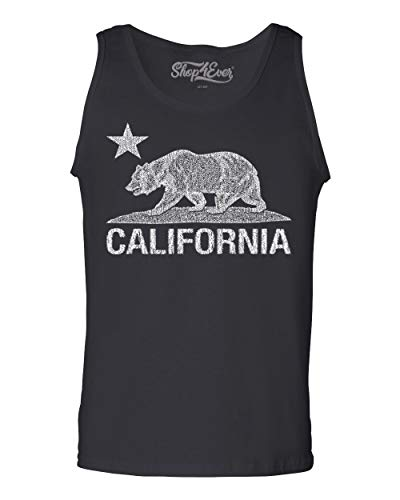 (Shop4Ever California Vintage White Bear Men's Tank Top Cali Tank Tops XX-LargeBlack 0)
