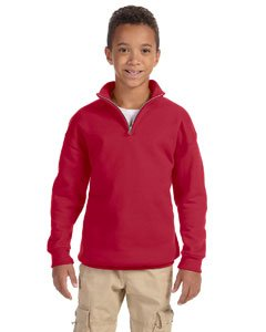 Jerzees Nublend Youth Quarter-Zip Cadet Collar Sweatshirt (True Red) (L) (Zip Sweatshirt Quarter Jerzees)