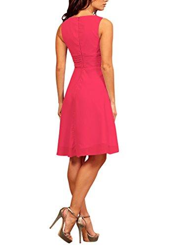 My Evening Dress -Vestido corto fiesta cóctel en gasa cuello pico Fuxia