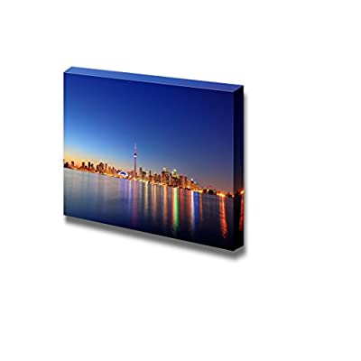 Delightful Expert Craftsmanship, Toronto Cityscape Skyline Panorama at Dusk Over Lake with Colorful Light Wall Decor, Premium Creation