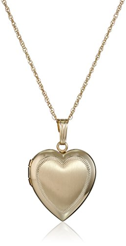 14k Yellow Gold Satin-Finish Engraved Heart Locket Necklace, 18""