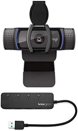 Logitech C920S HD Pro Webcam with Privacy Shutter Bundled with Knox Gear 4-Port 3.0 USB Hub (2 Items)