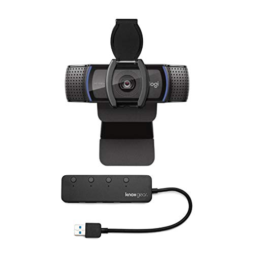 Logitech C920S HD Pro Webcam with Privacy Shutter Bundled with Knox Gear 4 Port 30 USB Hub 2 Items