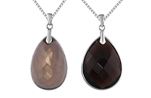 Sterling Silver Natural Smokey Quartz Teardrop Shaped Gemstone Pendant Necklace 22