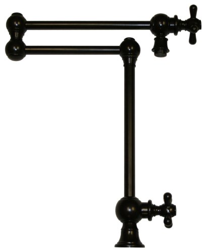 Whitehaus WHKPFDCR3-9555-ORB Whkpfdcr3-9555-Orbvintage Iii Patented Deck Mount Pot Filler with Cross Handles & Swivel Aerator, Oil Rubbed Bronze (9555 Oil)
