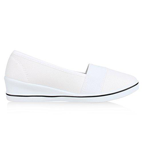 napoli-fashion Sportliche Damen Pumps Keilabsatz Glitzer Wedges Schuhe Jennika Weiß
