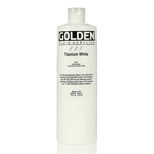 3M 0002380-6 Golden Artist Fluid Acrylic Colors, 16 oz, Titanium White