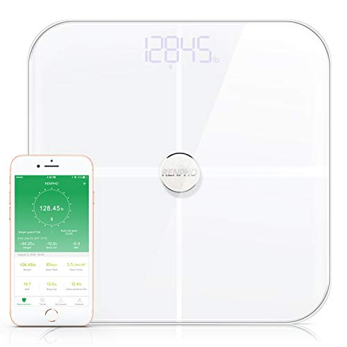 RENPHO Premium Smart Heart Rate Body Fat Scale Body Analyzer Monitor with 15 Essential Body Composition Measurement, Bluetooth Digital Weight BMI Bathroom Scale with App, 396 lbs White