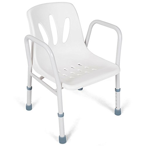 LordBee Steel and Plastic White Height Adjustable Medical Shower Bench